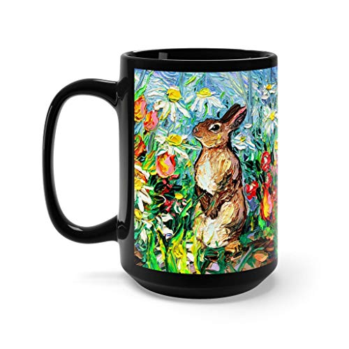 (Cute bunny Mug - garden rabbit Cottontail black ceramic coffee cup by Aja)