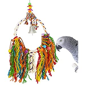 Bonka Bird Toys 1786 Fuzzy Medium Bird Toy parrot cage bells cages African grey conure amazon cockatoo macaw foraging aviary ball big extra chain 120
