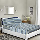 Clara Clark Premier 1800 Collection Deluxe Microfiber 3-Line Bed Sheet Set, Striped, King Size