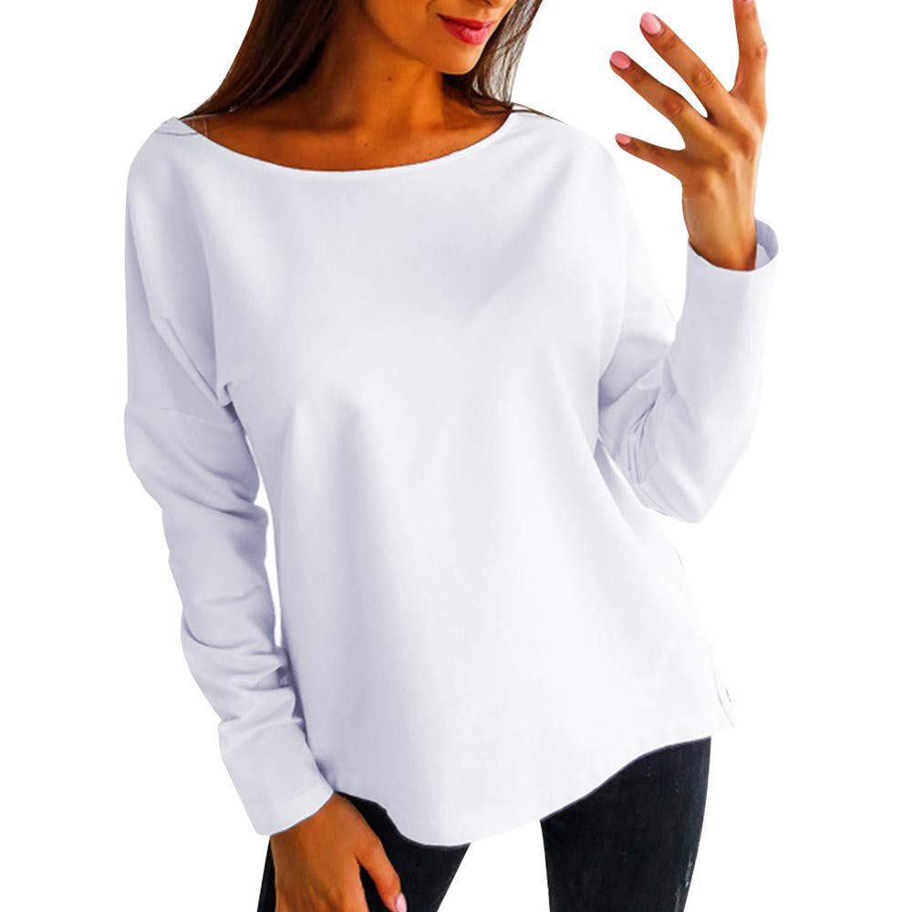 Women Casual Long Sleeve Blouse Backless Sexy Shirts Solid Color Tops Loose Sweater Plus Size Tunic Pullover