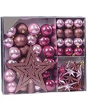Spetebo Kerstboomversiering, 45-delige set – 36kerstballen, piek, sterren en ketting