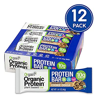 Orgain Organic Protein Bar, Chocolate Chip Cookie Dough, 12 Count