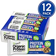 Orgain Organic Protein Bar, Chocolate Chip Cookie Dough, Vegan, Gluten Free, Non-GMO, USDA Organic, 1.41 Ounce, 12 Count
