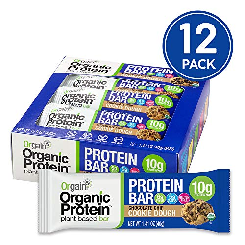 Orgain Organic Plant Based Protein Bar, Chocolate Chip Cookie Dough - Vegan, Gluten Free, Non Dairy, Soy Free, Lactose Free, Kosher, Non-GMO, 1.41 Ounce, 12 - Bar Free Snack