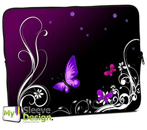 MySleeveDesign 13 Inch Notebook Sleeve Laptop Neoprene Soft Case Pouch MacBook Bag 13 / 13.3 Inch - SEVERAL DESIGNS & SIZES Available - Butterfly Light