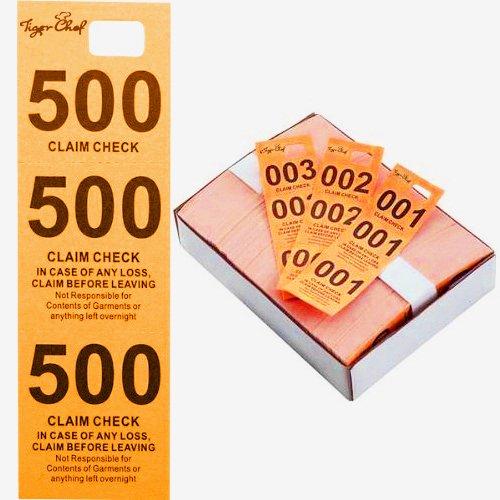 Tiger Chef Coat Checks, Orange Colored Paper Coat Room Check Tags, Tickets 3-Part, 500 Per Box