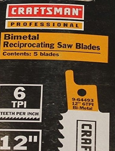 Craftsman Professional 12 in. Bimetal Reciprocating Saw Blades, Wood & Nails, 6 TPI - 5 pk. 9-64493, Made in Switzerland