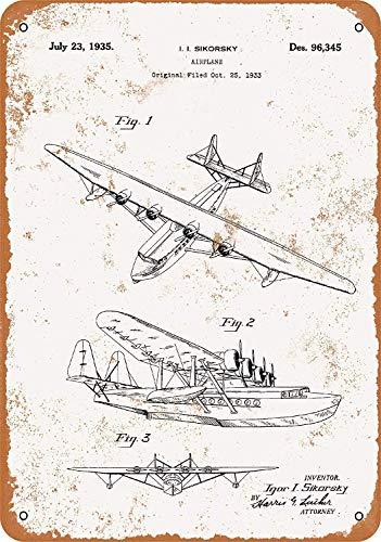 イゴール・シコルスキー飛行機特許 金属スズヴィンテージ安全標識警告サインディスプレイボードスズサインポスター看板建設現場通りの学校のバーに適した