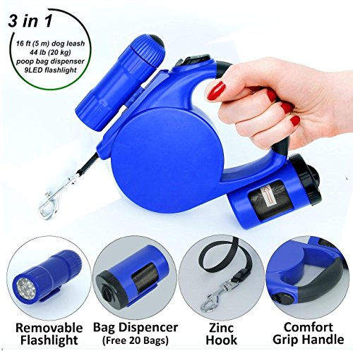 Retractable Dog Leash - Dog Leash Retractable 16 ft for Small Medium Breed up to 44 lb - Best Walking Pet Training Automatic Leash - Durable Plastic Retractable Leash Set with Light and Bag Dispenser (Retractable Plastic Leash)