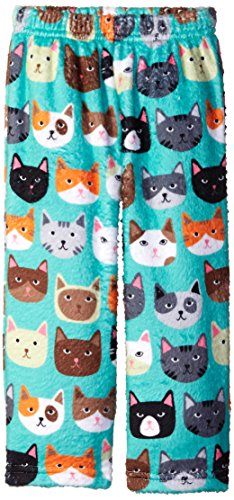Up Past 8 Little Girls' Fuzzy Pajama Pant, Cat Faces, 7