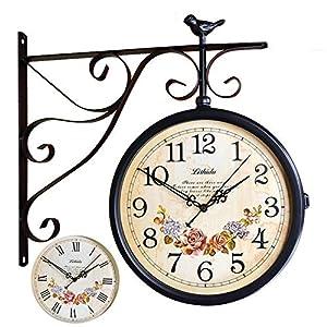 Wall clock Reloj Reloj de Pared de Doble Cara Europeo (50 * 45cm) la Cara del Reloj es de 30 cm de diámetro Carcasa de Metal Movimiento de Barrido silencioso 2 Pilas AA (no Incluidas) 9