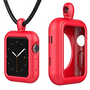 Greatfine Apple Watch Accessories Necklace Pendant Case Cover for Apple Watch 38MM Series 3 / 2 / 1 / Nike+ / Edition (Red, 38MM)