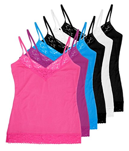 Womens Fitted Camisole - Women's 6-pack Lace Fitted Camisoles #093 - S