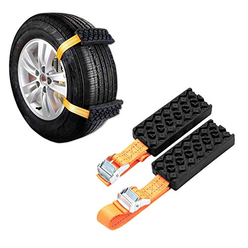 (Jeebel Camp 2PCS Car Snow Chains, Universal Car Anti-Skid Rubber Nylon Snow Mud Chain Emergency Anti-Slip Tire Straps Traction - Easy Installation/Removal for Car Truck & SUV on Snow Ice Mud Road)
