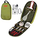 Ezyoutdoor Camp Kitchen Utensil Organizer Travel Set - Portable 12 Piece BBQ Camping Cookware Utensils Travel Kit with Water Resistant Case|Cutting Board|Rice Paddle|Tongs|Scissors|Tableware|Carabiner
