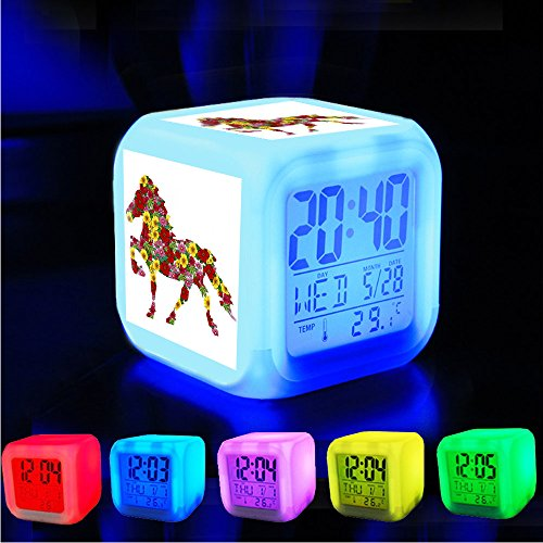 Alarm Clock 7 LED Color Changing Wake Up Bedroom with Data and Temperature Display (Changable Color) Customize the pattern?288.Flower Horse