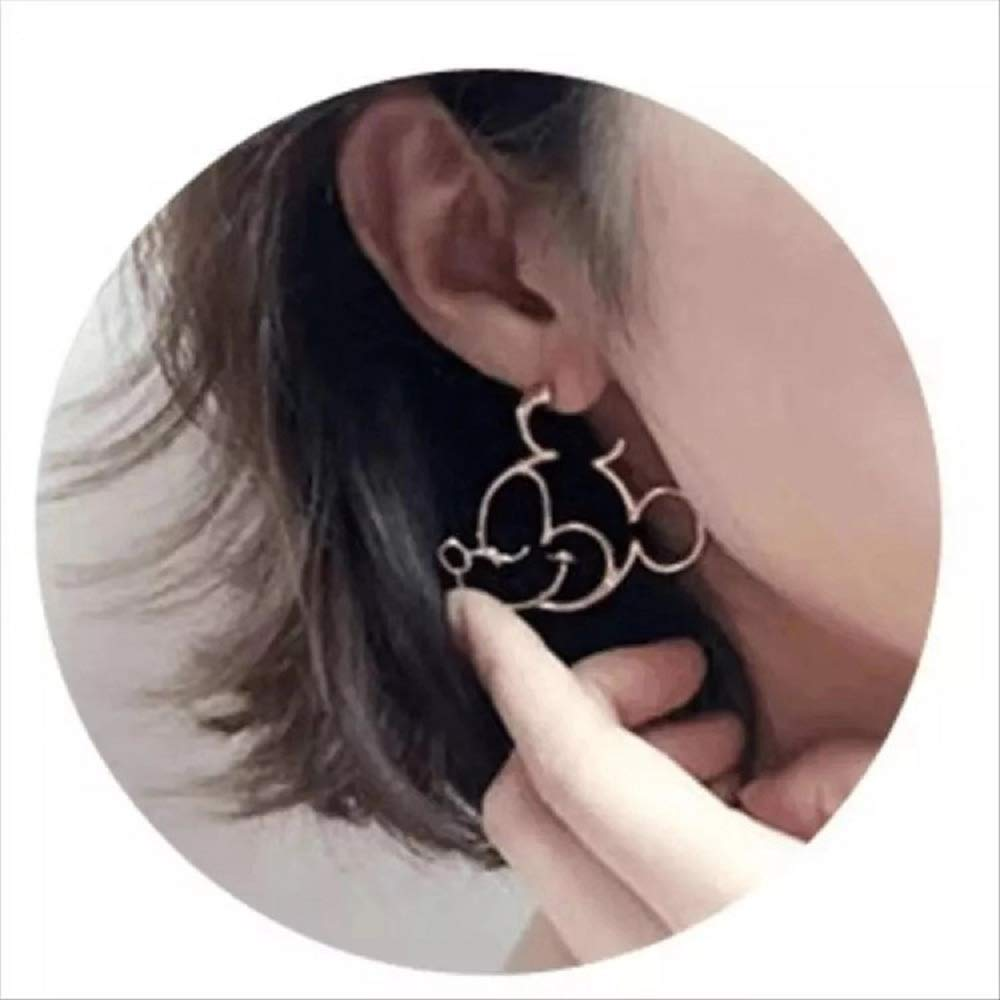 Silver i/&D Jewelry Silver Plated Black Gold Hidden Mouse Boys Drop Earrings Cute Bow Detail Girls Dangle Earring Large Hoop Earrings