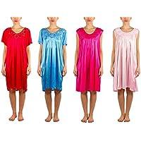 4unidades de sedoso Sheer nightgowns con Embellished Flor Cuello (9027& 9033)