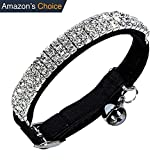 Diamond Bling Collar | Safe Leather Rhinestones Crystal Diamante with Adjustable Clasp Up To 11 inch and Ring Bell | For Puppy Kitten Cat Small Dog