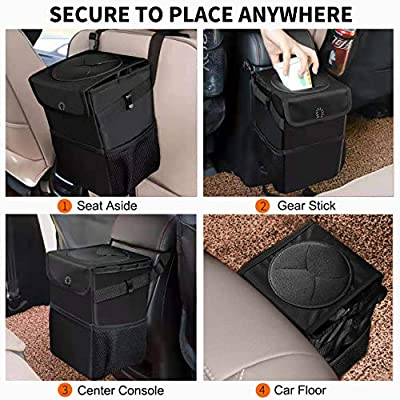 Auesny Upgraded Car Trash Can with Lid and 3 Storage Pockets, 100% Leak-Proof Car Organizer, Waterproof Car Garbage Can, Multipurpose Trash Bin for Car -Auto Car Trash Bag Black 2.4 Gallons: Automotive