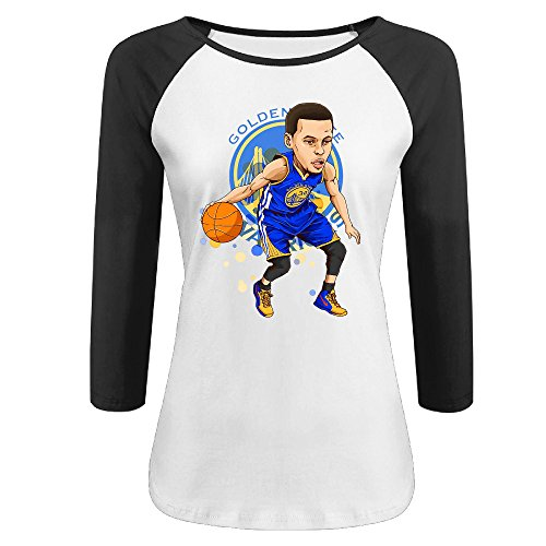womens-stephen-curry-100-cotton-3-4-sleeve-athletic-baseball-raglan-tee-shirts-black-us-size-l