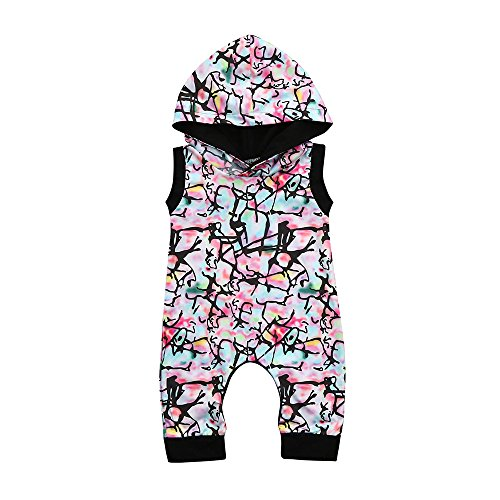 Yalasga Boys Girls Multicolor Hooded Romper Jumpsuit Infant Baby Summer Outfits (Multicolor, 12-18M) (Hooded Cotton Lace)