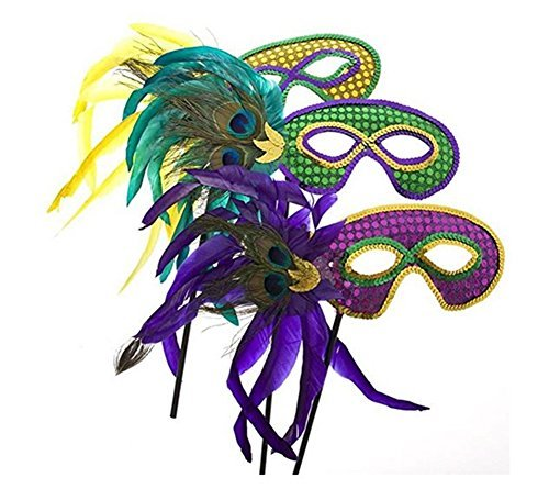 Fun Express Feather Mardi Gras Masks (1 Dozen) -