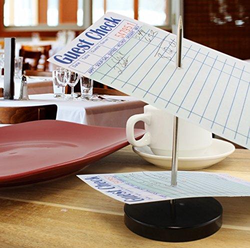 "Restaurant Bill Spindle (2-pack); Check/Receipt or Note Memo Holder Spike Stick for Business & Office Desks 5.5"" Black & Silver"