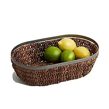 Woodard & Charles Abaca Metal Trim Oval Basket, 13-Inch