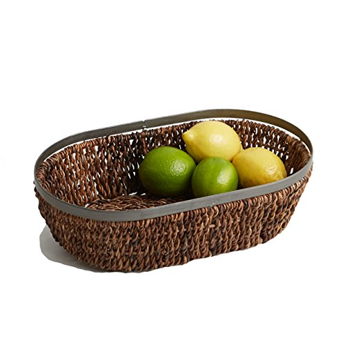 Abaca Collection - Woodard & Charles Abaca Metal Trim Oval Basket, 13-Inch