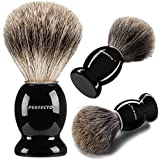 Perfecto 100% Pure Badger Shaving Brush-Black Handle- Engineered to deliver the Best Shave of Your Life. No Matter what method you use, Safety Razor, Double Edge Razor, Staight Razor or Shaving Razor, This is the Best Badger Brush.