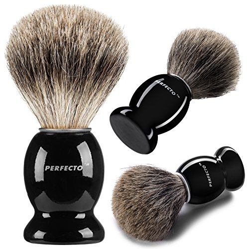 (Perfecto 100% Pure Badger Shaving Brush-Black Handle- Engineered for the Best Shave of Your Life. For, Safety Razor, Double Edge Razor, Straight Razor or Shaving Razor, Its the Best Badger)