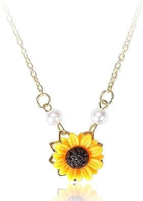 New Popular Fashion Sunflower Jewelry Pendant Choker Chain Necklace Pearl Women