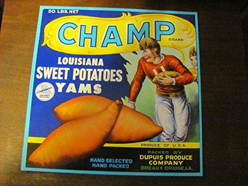 CHAMP louisiana yam/sweet potato crate label, vintage, 1940s/50s