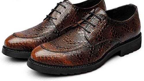 DHFUD Printemps Rétro Chaussures Britanniques Hommes Pointus Affaires Robe Chaussures Dentelle Hommes Chaussures LightBrown