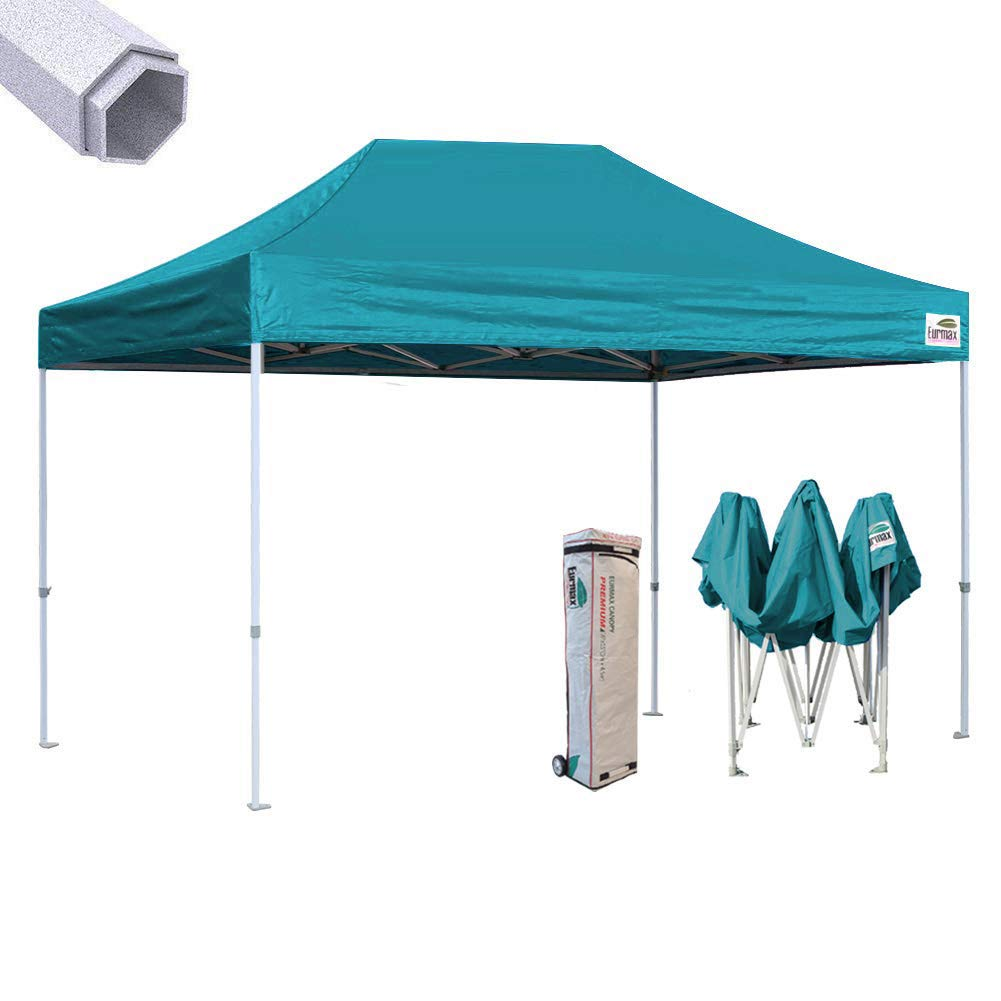 Eurmax 10x15 Ft Premium Pop up Canopy Instant Canopies Shelter Outdoor Party Tent Gazebo Commercial Grade Bonus Roller Bag (Turquoise)