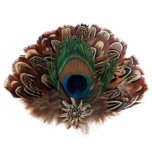 (Peacock & Brown Deluxe Feathers for German Oktoberfest Hunter Hat by E.H.G | Metal Medallion Edelweiss Hat)