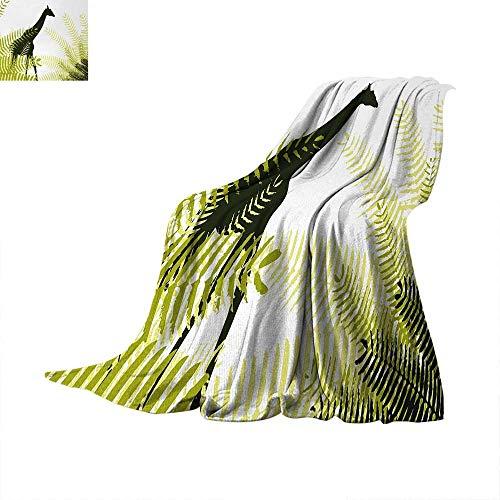 Africa Digital Printing Blanket Silhouette of Giraffe Ferns National Park Terrestrial Tall Animal Print Summer Quilt Comforter 62