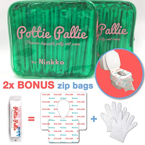 Pottie Pallie Premium Quality Disposable Toilet Seat Covers (w Bonus Zip Bag+Gloves) Individually Wrapped X Large & Thick Non-Slip Waterproof Adult Hygiene Potty Shields (20pcs) by Ninkko by Ninkko (Image #10)