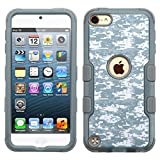 iPod Touch 5th Gen/6th Gen Case, Mybat Tuff Camouflage Dual Layer [Shock Absorbing] Protection Hybrid Rubberized Hard PC/Silicone Case Cover For Apple iPod Touch 5th Gen/6th Gen, Gray/White