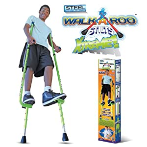 The Original Walkaroo Xtreme All-Steel Balance Stilts by Air Kicks with Height Adjustable Vert Lifters, Assorted Colors (Red or Green)
