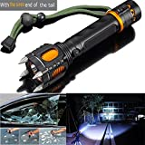 2000LM 6 Modes Tactical Self-Defense Audible Alarm Cree XM-L T6 LED Flashlight, Aluminum Alloy, Black