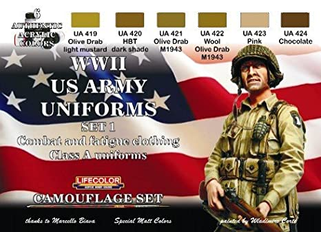 Toy Soldiers Camouflage US Army WWII Combat, Fatigue, Class A Uniforms  Acrylic Model Figure Paint Set #1 Lifecolor, Compatible with Mig AK  Interactive