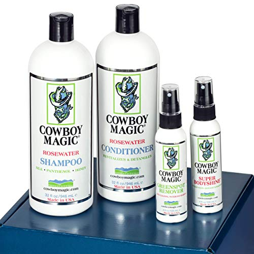 Cowboy Magic Detangler - Cowboy Magic Show Ready Limited Edition Box Set/Includes 32 Ounce Rosewater Shampoo 32 Ounce Rosewater Conditioner/ 4 Ounce Greenspot Remover/ 4 Ounce Superbody Shine Plus Bonus Gifts.