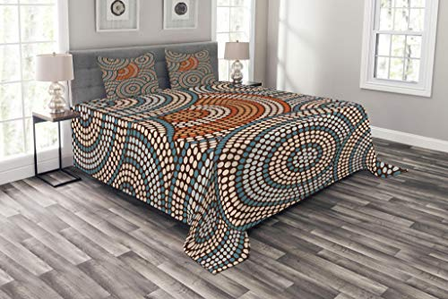Lunarable Abstract Bedspread Set King Size, Ethnic Retro Boho Native African Circles Forming Rounds Motif, Decorative Quilted 3 Piece Coverlet Set with 2 Pillow Shams, Orange Petrol Blue Pale Peach