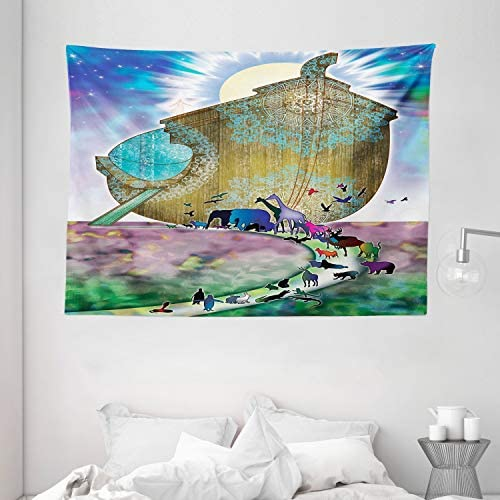 Ambesonne Colorful Tapestry, Animals of The World Old Story on Night Sea Mandala Patterns Ancient Art Work, Wall Hanging for Bedroom Living Room Dorm, 80 W X 60 L Inches, Multicolor