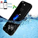 iPhone 7 Plus Waterproof Case, IP68 Full Body Underwater Cellphone Cover with Clear Sound (Transparent/Black)