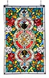 Stained Glass Lighting Victorian Roses Window Panel 20 X 32'' Handcrafted