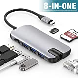 ALCLAP USB C Hub, 8-in-1 USB Type C to 4K HDMI Adapter Dock with Gigabit Ethernet, 3 USB 3.0 Ports, SD/TF Card Reader, USB-C Power Delivery Compatible MacBook Pro 2018, Dell XPS, Chromebook, Note 9