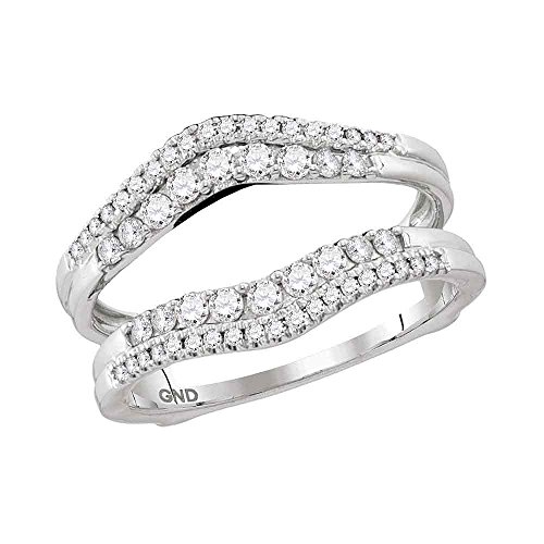 Jewels By Lux 14kt White Gold Womens Round Diamond Ring Guard Wrap Enhancer Wedding Band 1/2 Cttw Ring Size 9 ()
